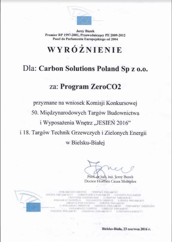 Wyróżnienie Zero Co2 Jerzy Buzek